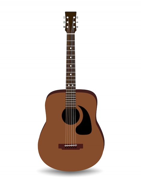 Chitarra acustica marrone realistica isolata Vettore Premium