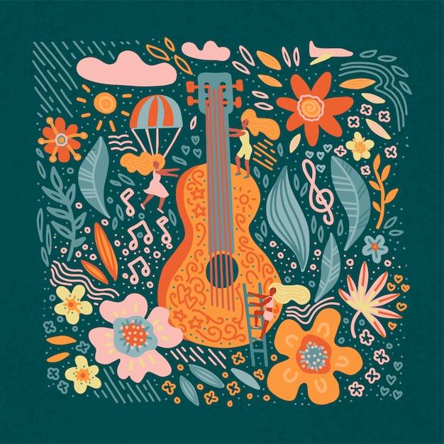 Chitarra della bandiera di festival di musica con i fiori e le ragazze. Vettore Premium