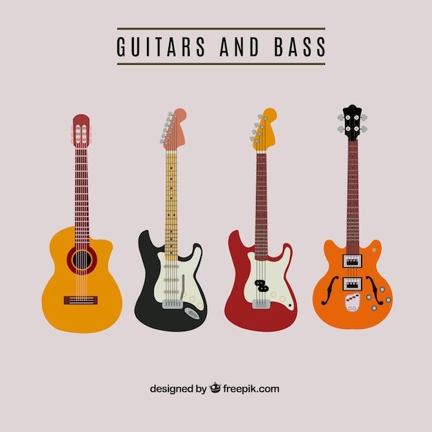 Chitarra e basso raccolgono Vettore gratuito