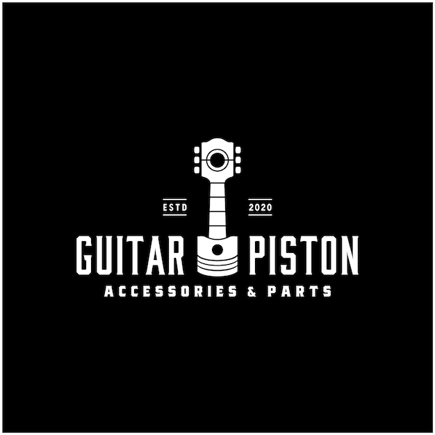Chitarra pistone motore auto motore macchina, studio musicale garage logo vintage automobilistico Vettore Premium
