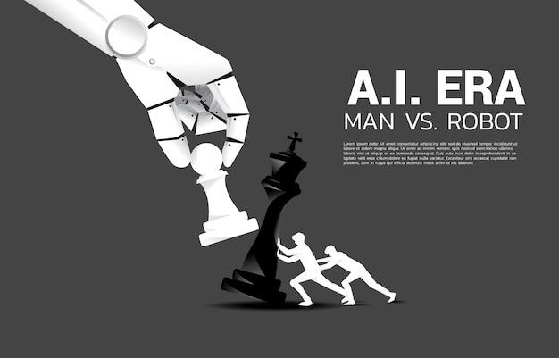 Chiuda in su della mano del robot prova a scacco matto il gioco di scacchi dell'essere umano. concetto di ai disruption e man vs machine learning Vettore Premium