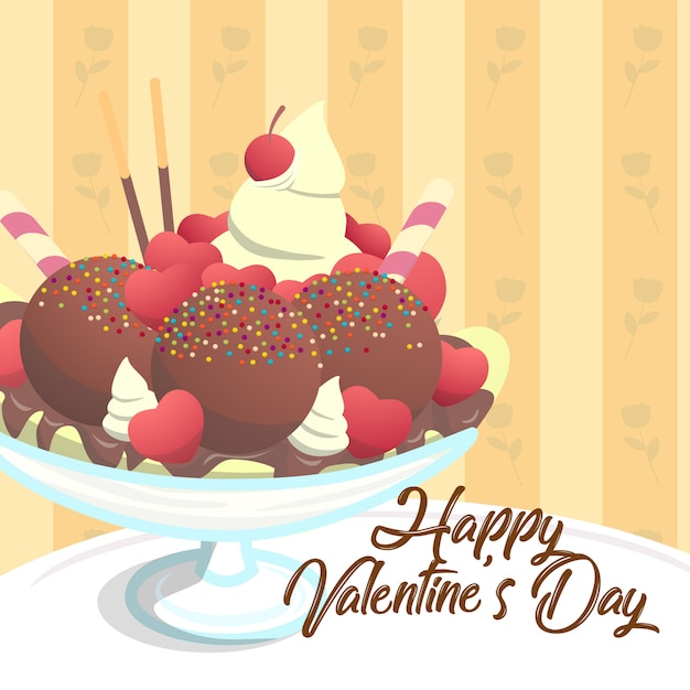 Choco dolce del gelato del gelato della coppa del modello della carta del biglietto di s. valentino Vettore Premium