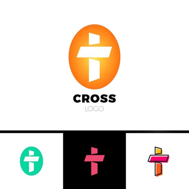 Christian croce logo in stile semplice e pulito. logo della chiesa Vettore Premium