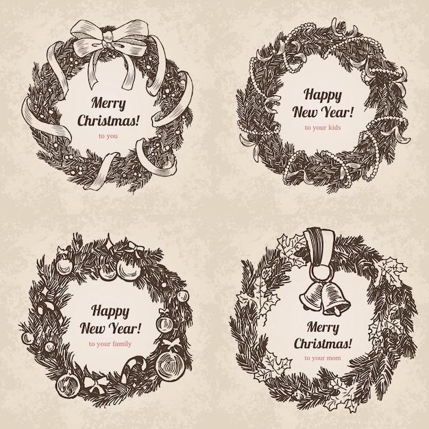 Chrystal call santa elk set anno nuovo stile incisione disegnata a mano Vettore Premium