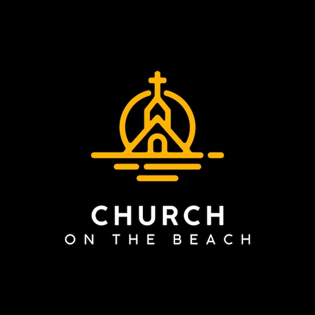 Church on at sunset beach logo design Vettore Premium