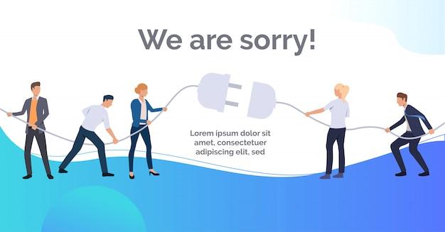 Ci dispiace presentazione di diapositive blu Vettore gratuito
