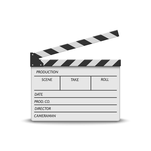 Ciak film realistico su bianco Vettore Premium