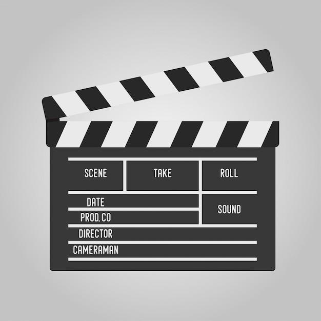 Ciak per la realizzazione di film. batacchio per il cinema Vettore Premium