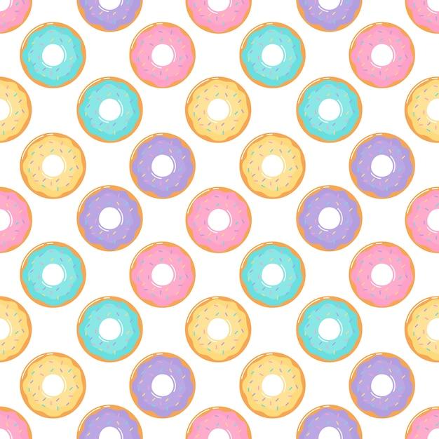 Ciambelle kawaii su sfondo bianco. Vettore Premium