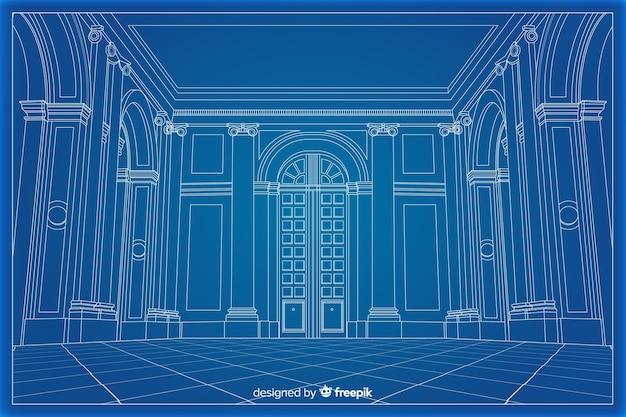 Cianografia 3d arhitectural di una costruzione Vettore gratuito