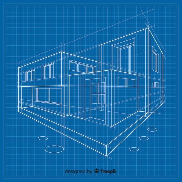 Cianografia 3d di una costruzione Vettore gratuito