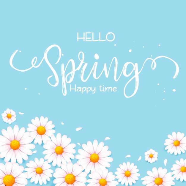 Ciao auguri di primavera Vettore Premium