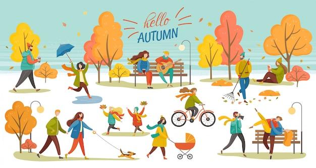Ciao autumn people walking nel parco fall vector Vettore Premium