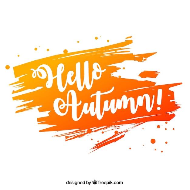 Ciao autunno, macchia di acquerello Vettore gratuito