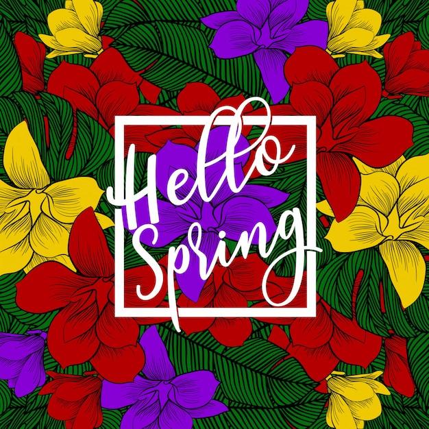 Ciao banner di primavera. Vettore Premium