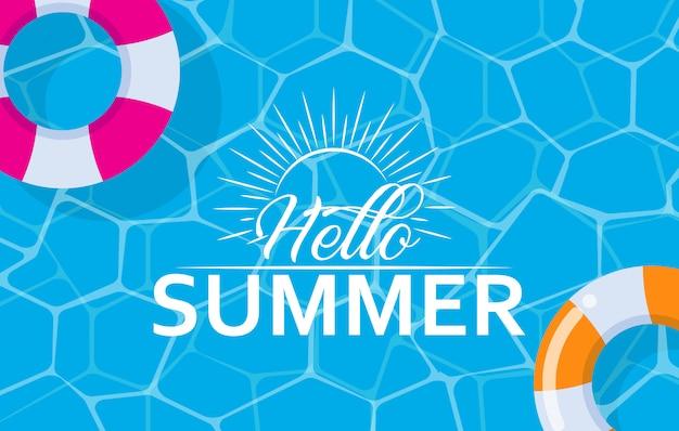 Ciao banner web estivo con anello di nuotata in piscina Vettore Premium