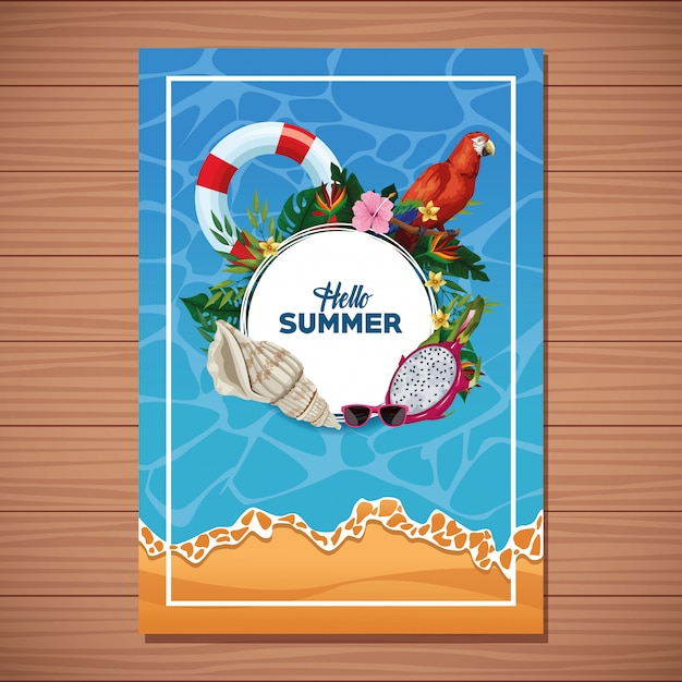 Ciao carta di estate su fondo in legno Vettore gratuito
