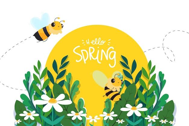 Ciao concetto di primavera con le api Vettore gratuito
