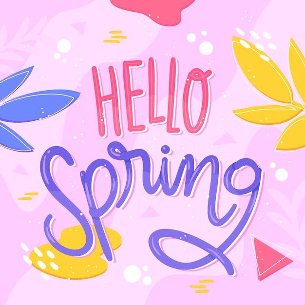 Ciao concetto di sfondo di primavera Vettore gratuito