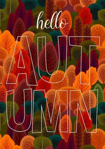 Ciao disegno di autunno con l'illustrazione della foresta Vettore Premium