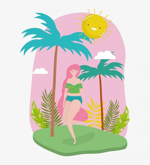 Ciao donna vacanze estive Vettore Premium