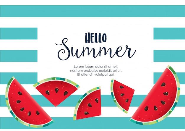 Ciao estate anguria sfondo vettoriale Vettore Premium