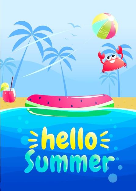 Ciao estate banner design festa. piscina nel parco acquatico. Vettore gratuito