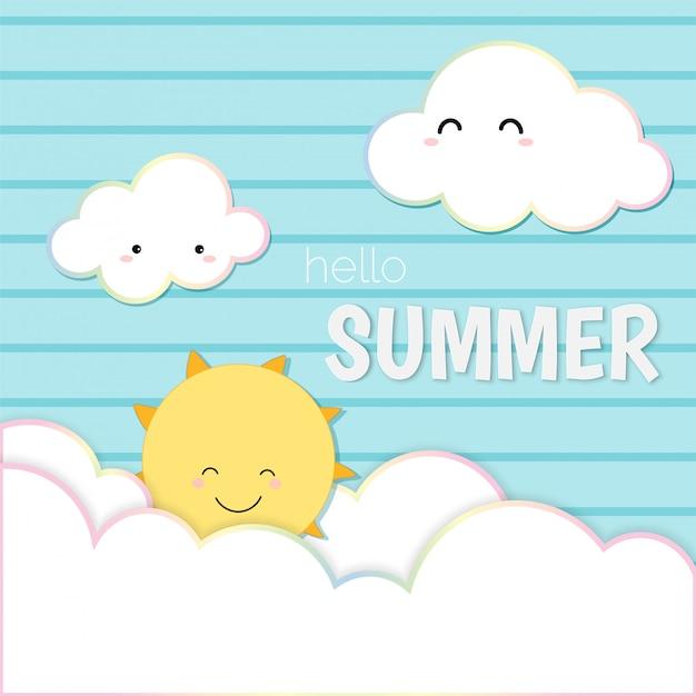 Ciao estate carina, cielo sorridente sole e cloud card sfondo. Vettore Premium