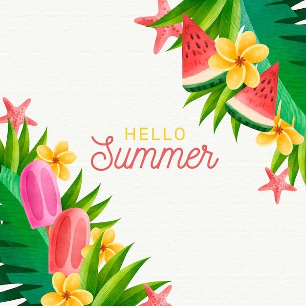 Ciao estate concetto di acquerello Vettore gratuito