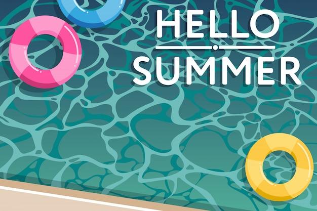 Ciao estate, illustrazione della piscina Vettore Premium