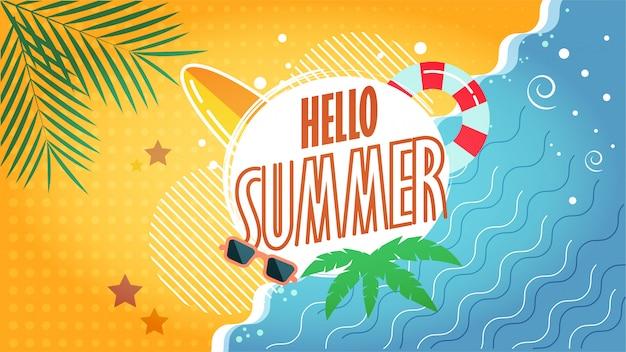 Ciao estate illustrazione della spiaggia tropicale Vettore Premium