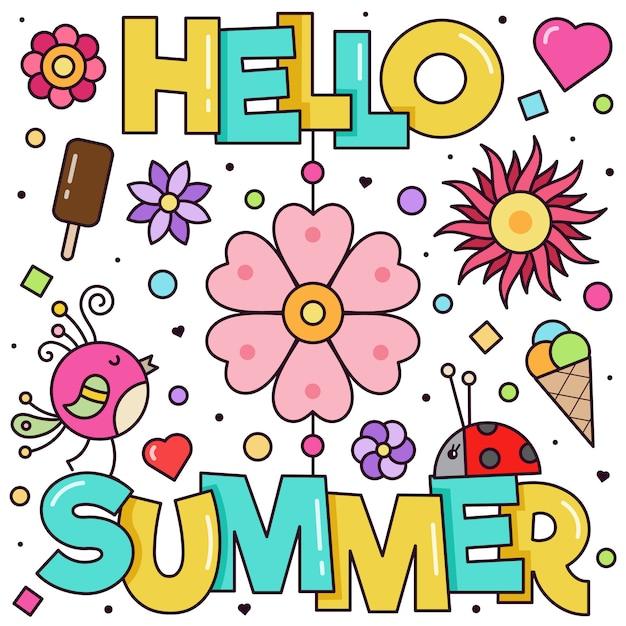 Ciao estate. illustrazione vettoriale Vettore Premium