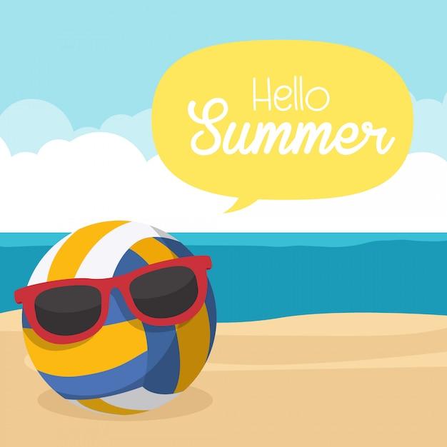 Ciao estate, pallavolo sulla sabbia della spiaggia Vettore Premium