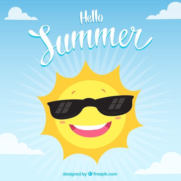 Ciao estate sfondo con sole divertente Vettore gratuito