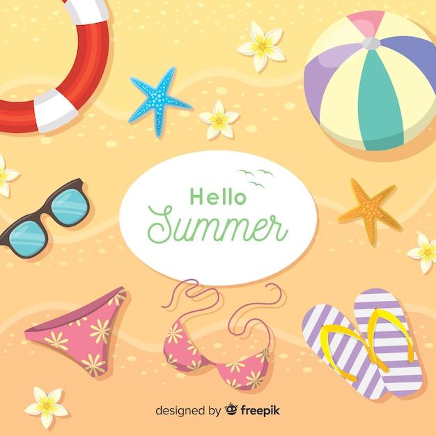 Ciao estate sfondo piatto Vettore gratuito