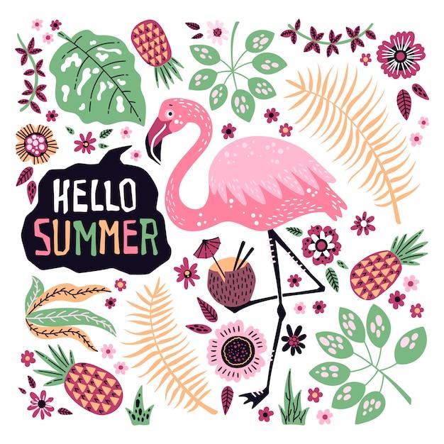 Ciao estate. vector carino fenicottero circondato da frutti tropicali, piante e fiori. Vettore Premium