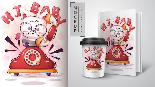 Ciao illustrazione e merchandising di kitty Vettore Premium