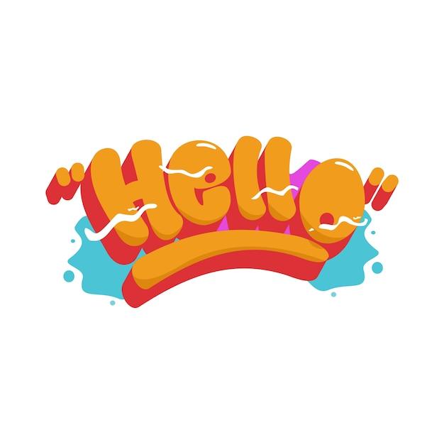 Ciao intestazione del font graffiti Vettore Premium