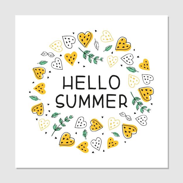Ciao iscrizione disegnata a mano piana del fumetto di estate. scheda dell'invito festa in spiaggia estate. frutta tropicale, cuori e foglie di menta clipart. banner estivo, maglietta, concetto di poster. Vettore gratuito