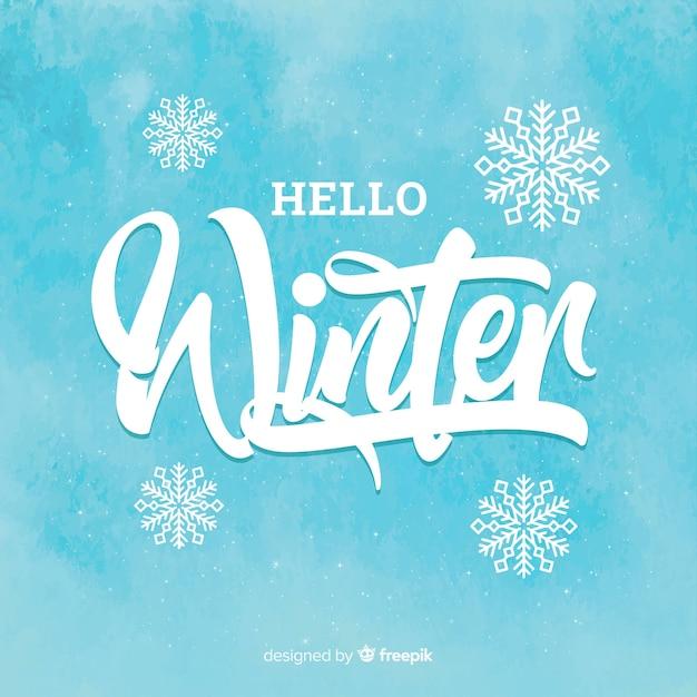 Ciao lettering invernale Vettore gratuito