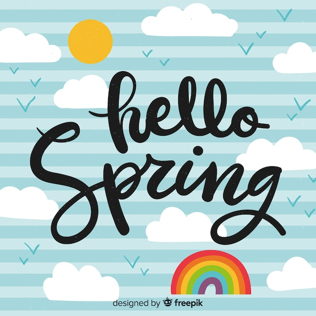 Ciao lettering primavera Vettore gratuito