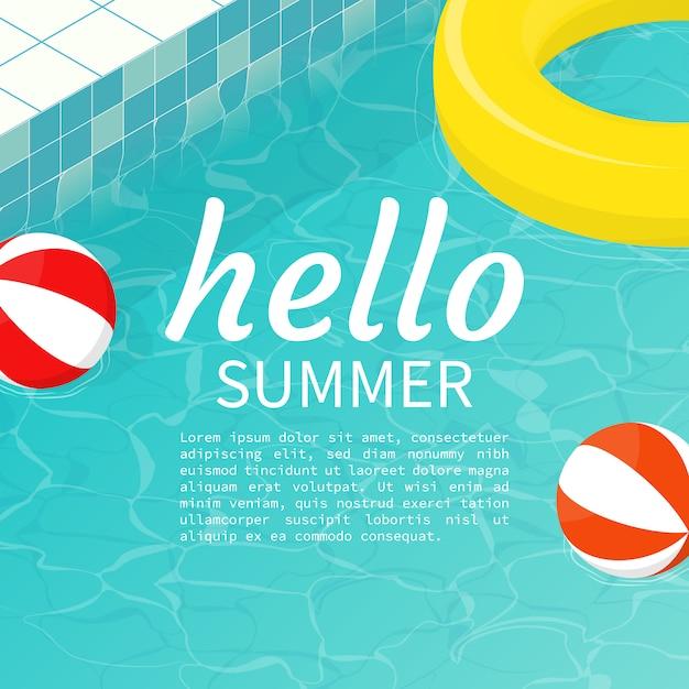Ciao piscina estiva galleggiante pallone da spiaggia, modello di testo Vettore Premium