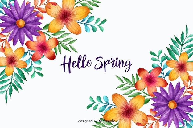 Ciao primavera con fiori in fiore Vettore gratuito
