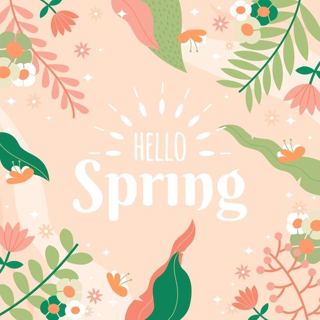 Ciao primavera con foglie colorate Vettore gratuito