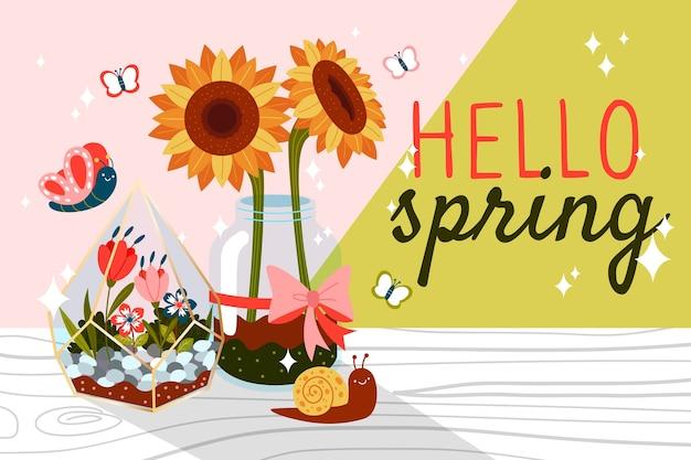 Ciao primavera con girasoli e farfalle Vettore gratuito