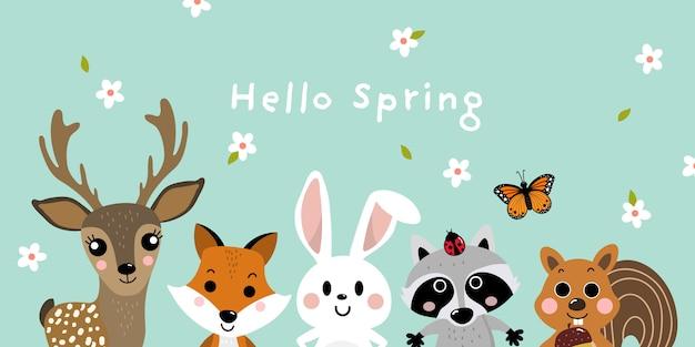 Ciao primavera con simpatici animali Vettore Premium