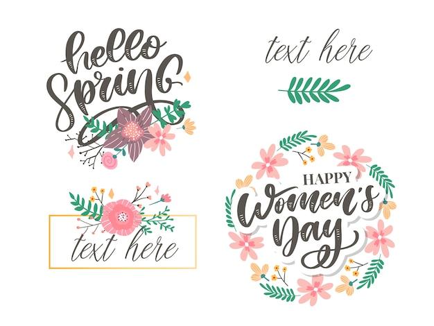 Ciao primavera e fiori per la festa della donna Vettore Premium