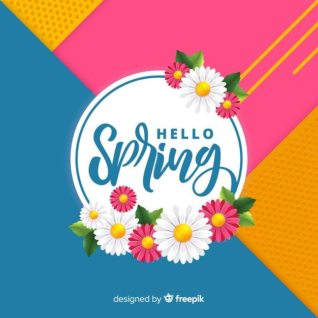 Ciao primavera geometrica sfondo Vettore gratuito