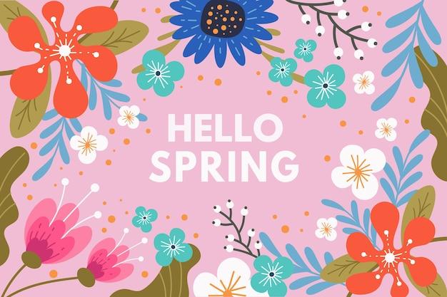 Ciao primavera lettering design con fiori colorati Vettore gratuito