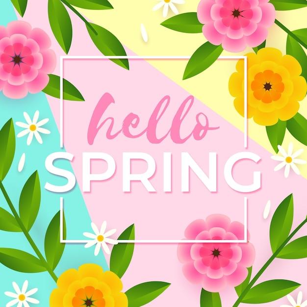 Ciao primavera lettering design con fiori piatti Vettore gratuito